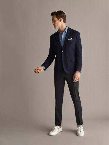 TRAVEL SUIT SLIM FIT PLAIN 100% WOOL FORMAL TROUSERS