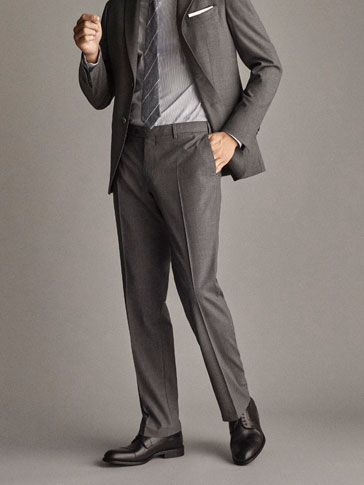 Travel Suit Regular Fit Textured Wool Trousers by Massimo Dutti