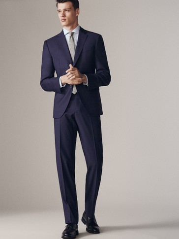 SLIM FIT TEXTURED NAVY BLUE WOOL TROUSERS