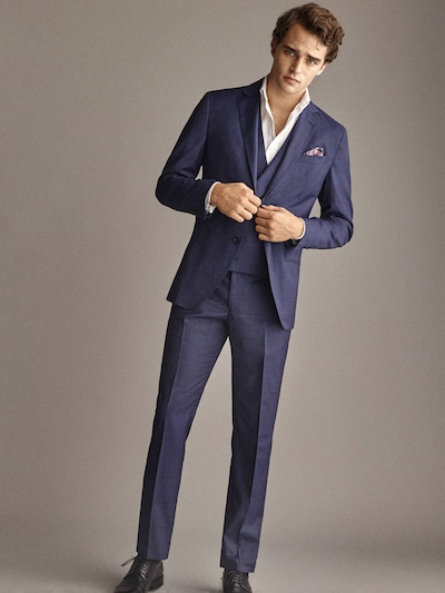 6895d7c21d SLIM FIT NAVY BLUE CHECK WOOL TROUSERS