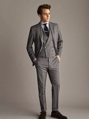 TRAVEL SUIT CITY SLIM FIT CHECK WOOL TROUSERS
