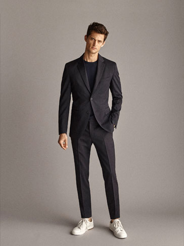 TRAVEL SUIT SLIM FIT PLAIN WOOL TROUSERS