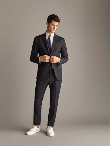 SLIM FIT TRAVEL SUIT STRIPED WOOL TROUSERS