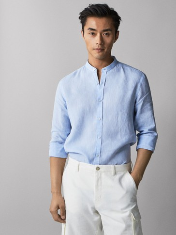 CHEMISE UNIE PUR LIN COUPE SLIM