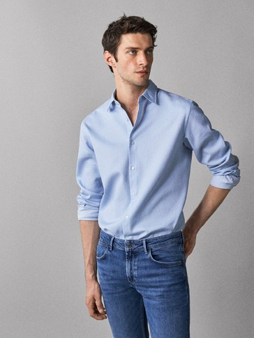 SLIM FIT TEXTURED COTTON SHIRT WITH ELBOW PATCHES