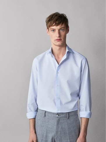 SLIM FIT GINGHAM DOBBY SHIRT