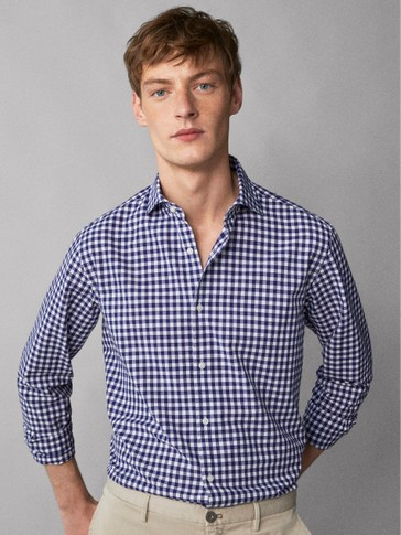 SLIM FIT BOUCLÉ CHECKED COTTON SHIRT