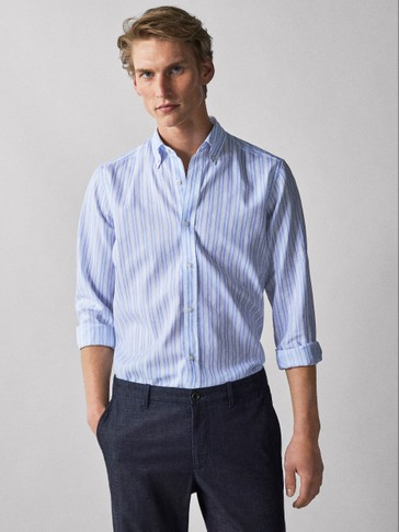 CHEMISE COTON RAYURES COUPE SLIM