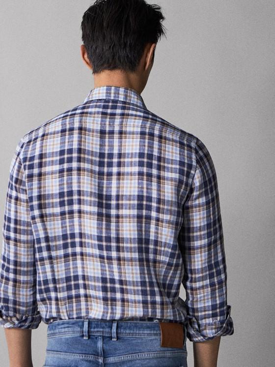 Massimo Dutti - SLIM FIT CHECK 100% LINEN SHIRT - 2