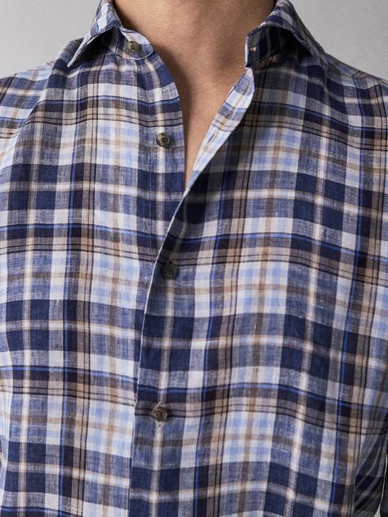 Massimo Dutti - SLIM FIT CHECK 100% LINEN SHIRT - 3