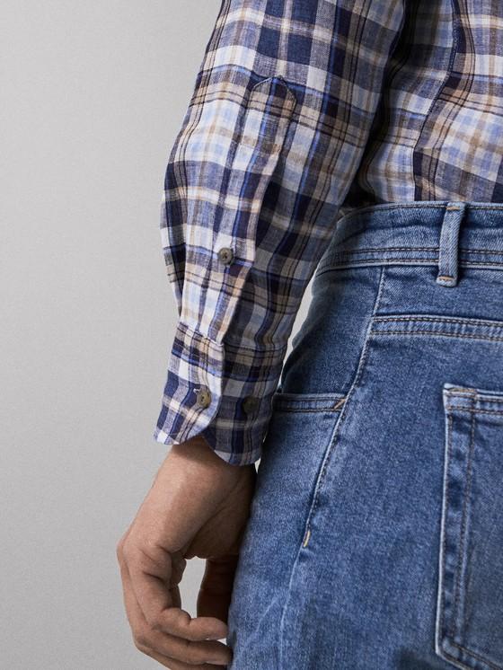 Massimo Dutti - SLIM FIT CHECK 100% LINEN SHIRT - 6