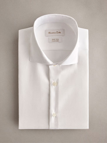 SLIM FIT EASY IRON HERRINGBONE COTTON SHIRT