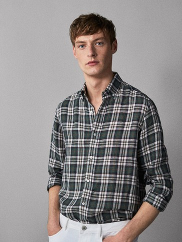 REGULAR FIT CHECKED 100% LINEN SHIRT