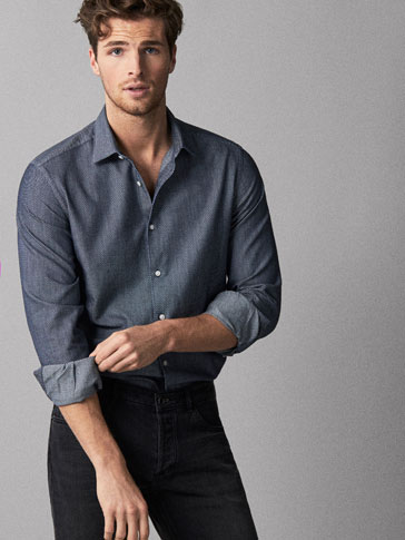 SLIM FIT NAVY BLUE TEXTURED TWILL SHIRT