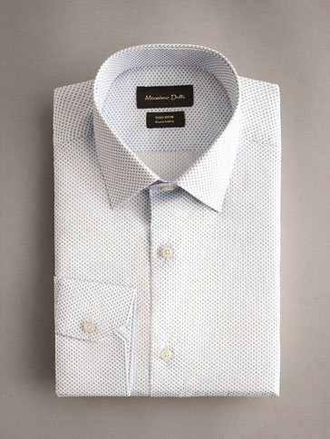 PRINTED COTTON SLIM FIT EASY IRON SHIRT
