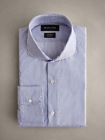 STRIPED COTTON TAILORED FIT EASY IRON SHIRT