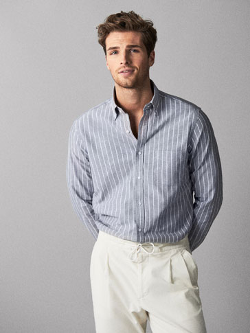 SLIM FIT STRIPED OXFORD SHIRT