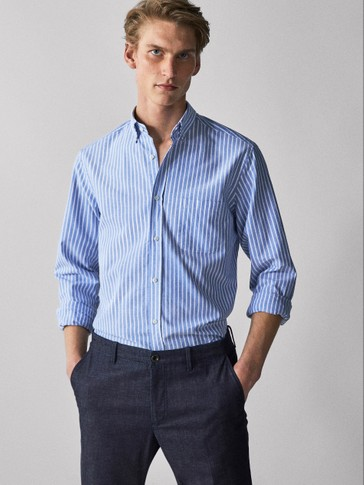 CAMISA OXFORD RAIAS REGULAR FIT