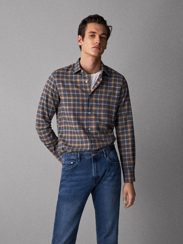 SLIM FIT MELANGE CHECK COTTON SHIRT