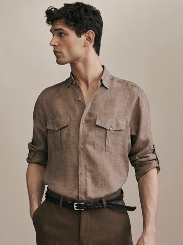 LIMITED EDITION SLIM FIT 100% LINEN SHIRT WITH POCKETS