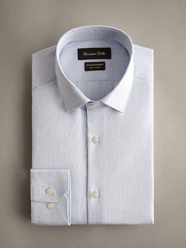 SLIM FIT TEXTURED STRIPE COTTON SHIRT