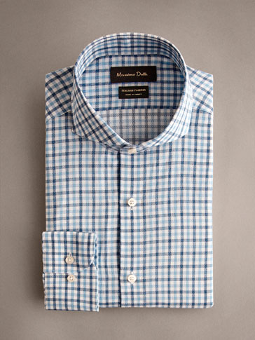 TAILORED FIT TEXTURED CHECK COTTON SHIRT