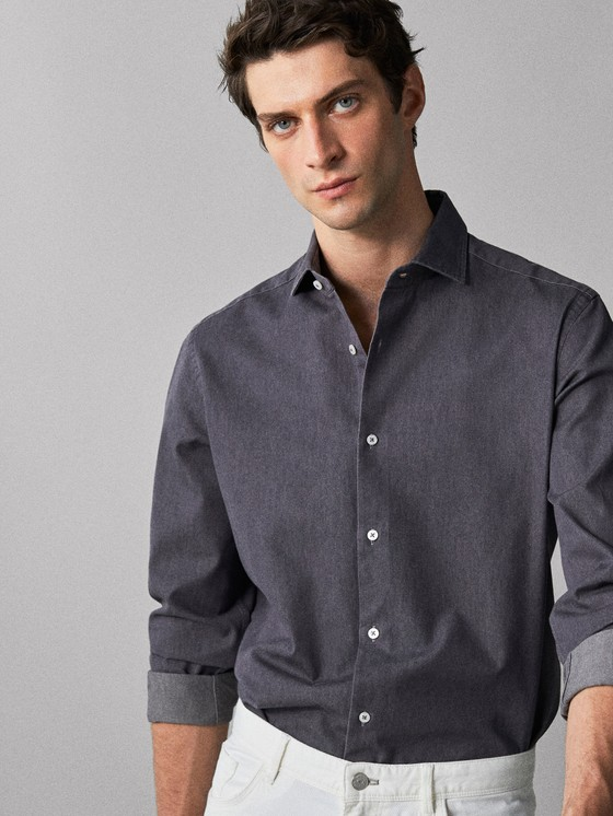 Massimo Dutti - SLIM FIT COTTON DENIM SHIRT - 6