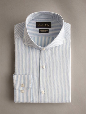 TAILORED FIT TEXTURED STRIPE COTTON SHIRT
