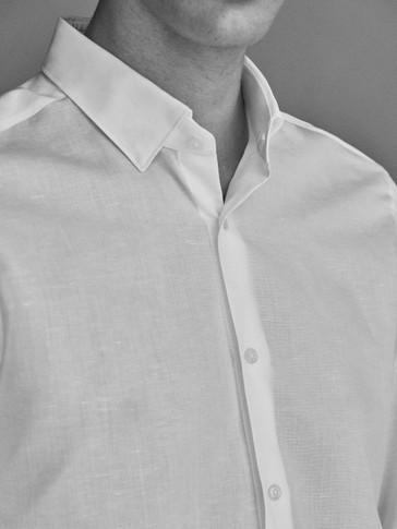 SLIM FIT PLAIN COTTON LINEN SHIRT