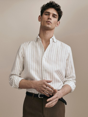 LIMITED EDITION SLIM FIT STRIPED 100% LINEN SHIRT
