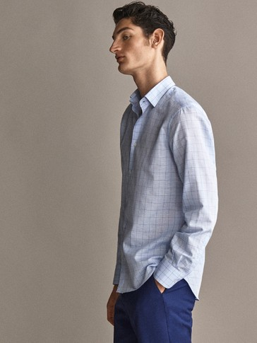 SLIM FIT CHECK COTTON LINEN SHIRT