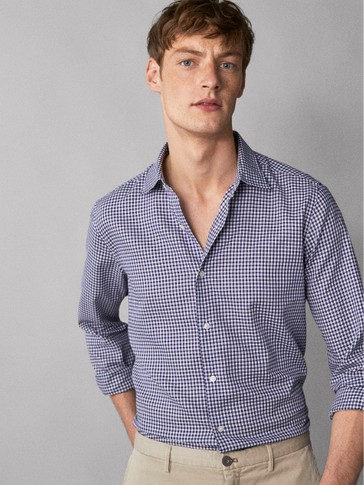 CAMICIA DI COTONE IN TESSUTO QUADRETTATO SLIM FIT EASY IRON