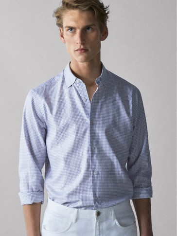 SLIM FIT EASY IRON COTTON SHIRT IN CHECK TEXTURE