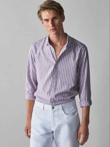 SLIM FIT EASY IRON DOUBLE-STRIPE COTTON SHIRT