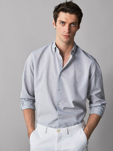 CAMICIA DI COTONE TINTA UNITA SLIM FIT EASY IRON