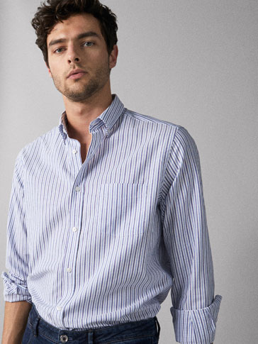 REGULAR FIT STRIPED OXFORD SHIRT