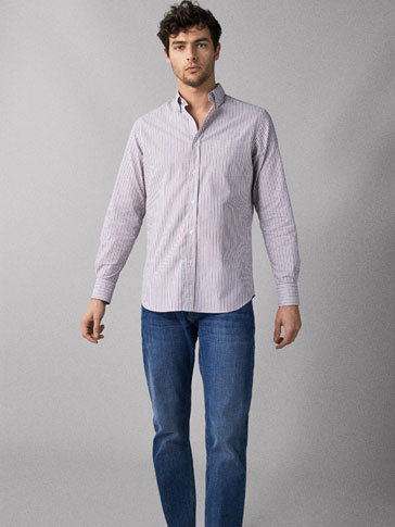 GESTREEPT OXFORD OVERHEMD REGULAR FIT
