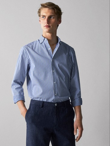 SLIM FIT STRIPED MOLESKIN COTTON SHIRT