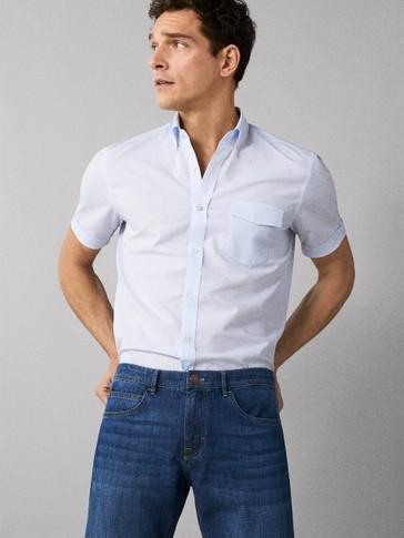 Regular Fit Plain Cotton Linen Shirt by Massimo Dutti