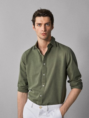SLIM FIT FADED GABARDINE SHIRT
