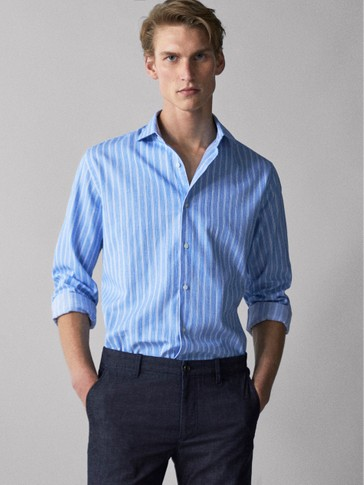 SLIM FIT STRIPED COTTON SHIRT
