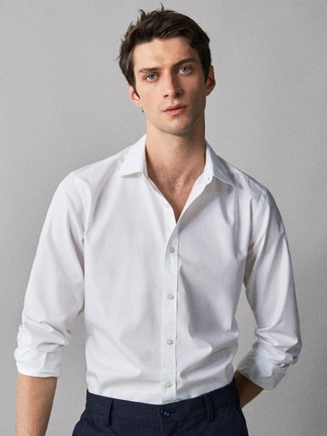 SLIM FIT PLAIN TWILL SHIRT