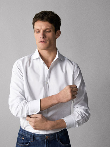 SLIM FIT PLAIN COTTON SHIRT