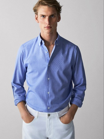 SLIM FIT COTTON SHIRT WITH ELBOW PATCHES IN CHECK TEXTURE