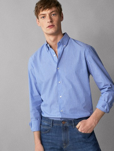 SLIM FIT CHECK COTTON SHIRT WITH ELBOW PATCHES
