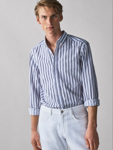 SLIM FIT TRIPLE STRIPE COTTON SHIRT