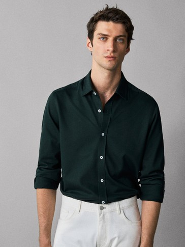 Slim Fit Knit Check Textured Weave Shirt by Massimo Dutti