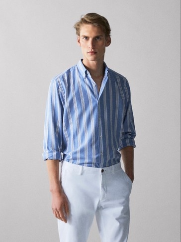 SLIM FIT STRIPED MELANGE COTTON SHIRT