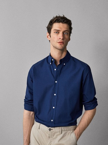 SLIM FIT DYED POPLIN SHIRT