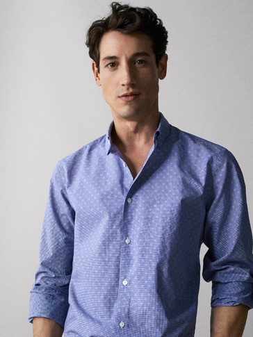 SLIM FIT TEXTURED COTTON JACQUARD SHIRT